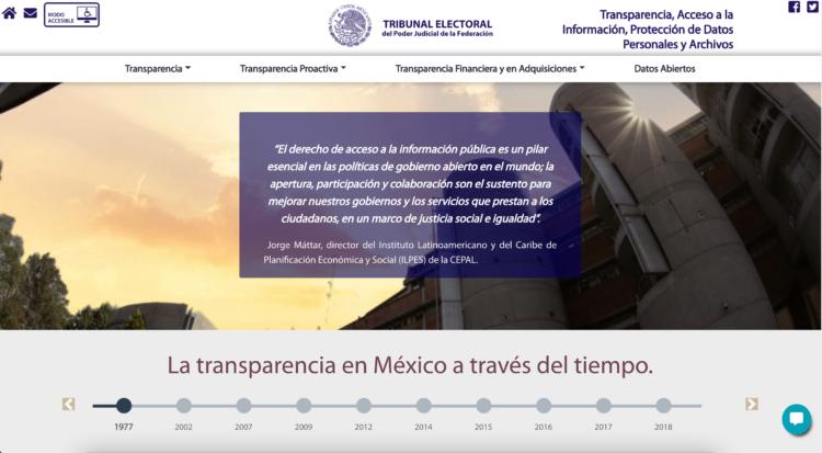 El micrositio de Transparencia del TEPJF recibió el reconocimiento del INAI.