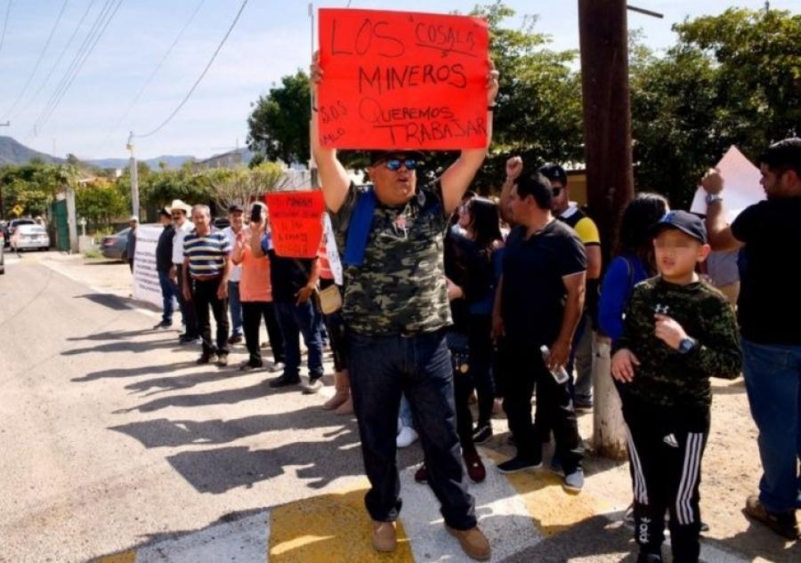 manifestaciones de mineros en Cosalá, Sinaloa